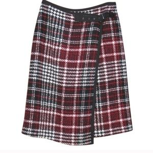 Burton Red Black Plaid Buckle Wrap Mini Skirt